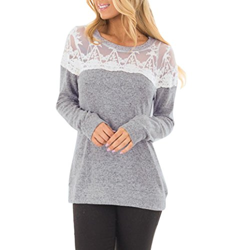 Bekleidung Bluse AMUSTER Damen Bluse Frühling Herbst Bluse Langarm Shirt Lace Bluse Tops Beiläufig Hemd Lose T-shirt Rundhals Pullover Elegant Tunika (XL, Grau) Liege, Couch Frühling