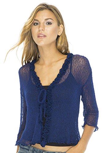 Back from Bali donna velato Coprispalle cardigan maglione increspatura leggero in maglia Navy