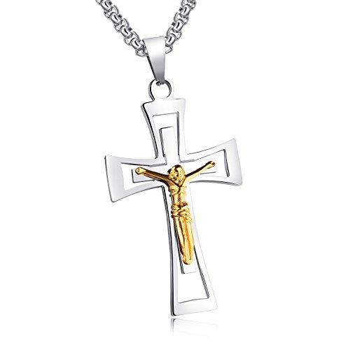 Edelstahl Retro Gotik Kreuz Jusus Anhänger für Herren Neue Mode Schmuck 55cm Kette Halskette,...