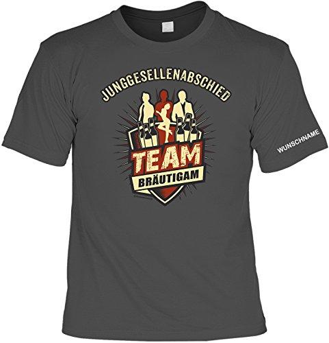 T-Shirt für Jungesellenabschied mit Wunschnamen - Team Bräutigam - Coole Idee für Bräutigam und die ganze Gruppe! - JGA Anthrazit