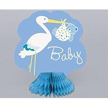 Partido Ênico Mini Honeycomb Cigüeña Boy Baby Shower Decoraciones del partido (paquete de 4)