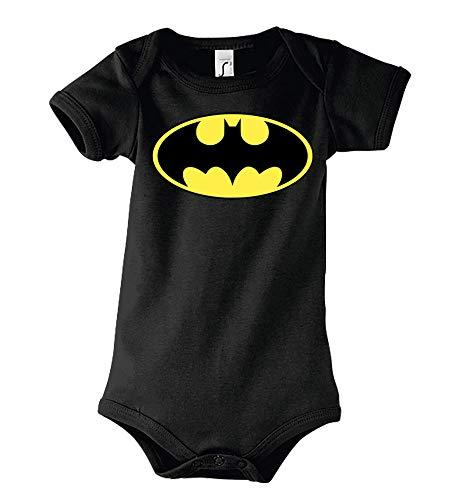 TRVPPY Baby Kurzarm Body Strampler Modell Batman Gelb, Gr. 6-12 Monate, Schwarz