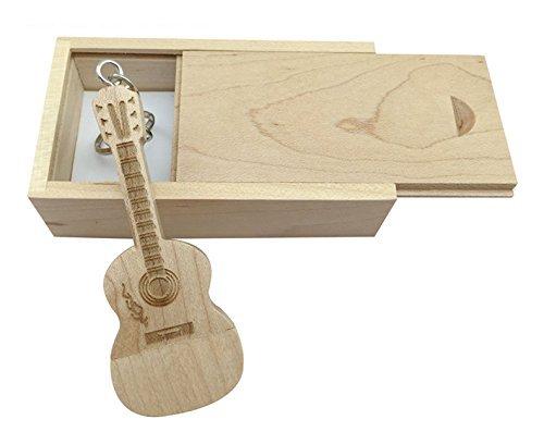 Chiavetta usb in legno di acero a forma di chitarra in scatola di legno maple wood 3.0/64gb