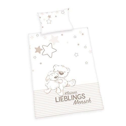 Herding 2485208063 Jana Lieblingsmensch Bettwäsche Bettwäsche-Set, Baumwolle, Weiß, 100 x 135 cm