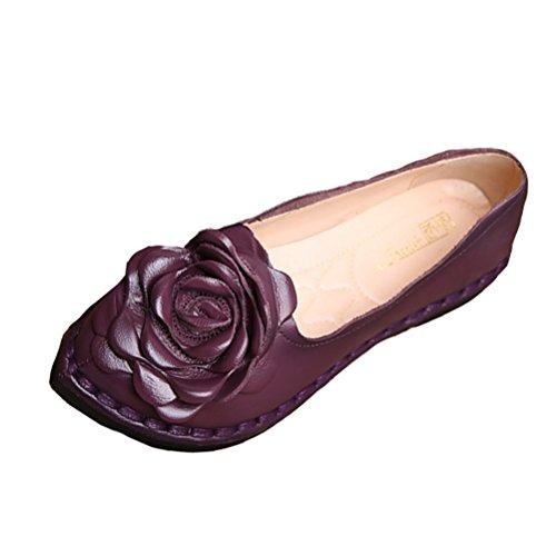 Vogstyle Damen Weinlese Blumen Handgemachte Lederschuhe Flats Art 5 Lila