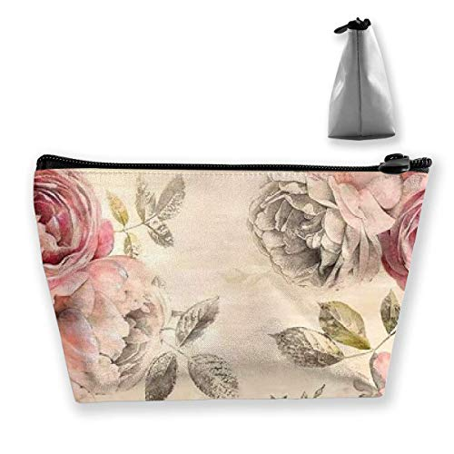 Makeup Bag Trapezoidal Storage Bag Flower Pink Leaves Portable Cosmetic Bag Ladies Mobile Travel Bag - Lady Pink Flower