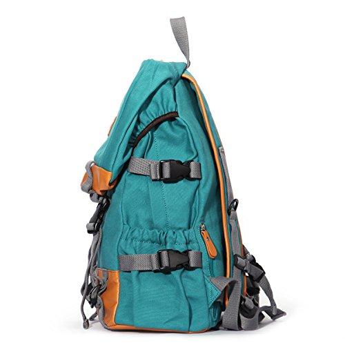 Eshow Damen Canvas Reise Camping Picknick Sportlich Freizeit Wochenende Rucksack Taschen Hellblau