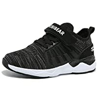 HOBIBEAR Unisex-Child Breathable Knit Sneakers Lightweight Mesh Athletic Running Shoes Black