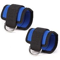 VORCOOL Correa de tobillo deportiva acolchada ajustable D-ring tobillo puños para ejercicios de gimnasio Máquinas de cable Butt y Leg pesos ejercicios (negro) - 2 piezas