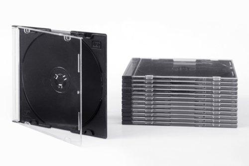 Tillmann Media CD-Hüllen Slimcase 5 mm für 1 CD/DVD, Deckel transparent, Rückenteil schwarz, Kartoninhalt: 100 Stück