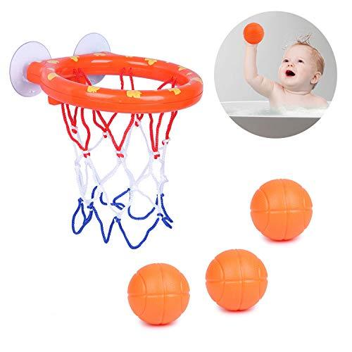 Youth Union Badespielzeug Basketballkorb Spielset für Kinder & Kleinkinder, Badewanne Schießen Spiel mit 3 Kugeln für kleine Jungen und Mädchen ab 3 Jahren