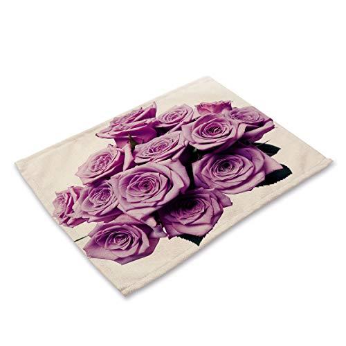 NoblePlacemat Einfacher Stil Tischsets,Blume Rose gedruckt Baumwolle Leinen westlichen Tischdecke...