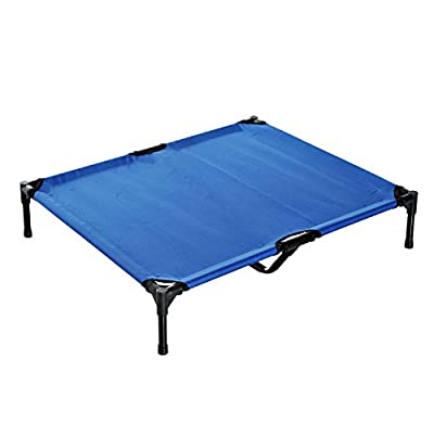 PawHut Elevated Pet Bed Portable Camping Raised Dog Bed w/ Metal Frame Blue - low-cost UK light shop.