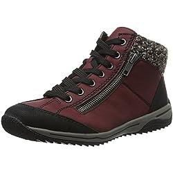 Rieker L5223, Zapatillas Altas para Mujer, Rojo (Schwarz/Vino/Terra), 40 EU