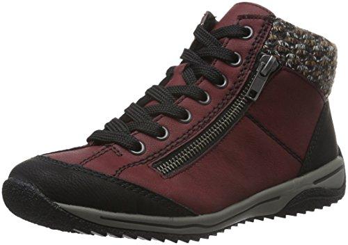 Rieker L5223 Damen Schnürstiefel, rot (schwarz/vino/terra/05), (Schuhe Rot Schwarz Und Dame)