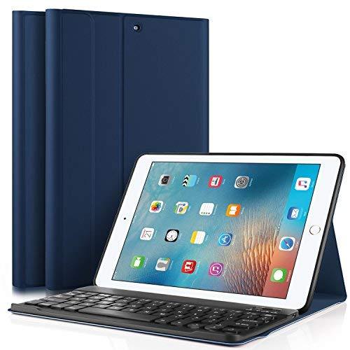 IVSO Teclado Estuche iPad 9.7' (iPad 6.ª generación) 2018/2017 [QWERTY], Slim Stand Funda con Removible Teclado para Apple iPad 9.7 (iPad 6.ª generación) 2018/2017 9.7 Pulgadas, Azul