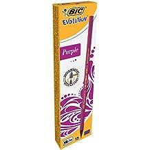 BIC Bleistift Evolution HB Purple / Bleistifte Set Pink / Ergonomischer Stift mit bruchsicherer Mine / Holzfreie, dünne Stifte / 12 Bleistifte