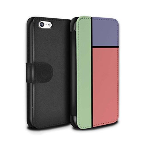 Stuff4 Coque/Etui/Housse Cuir PU Case/Cover pour Apple iPhone 5C / Pack 14pcs Design / Carreaux Pastel Collection 3 Carreaux/Rouge