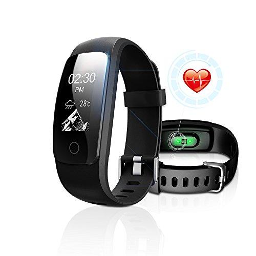 Fitness Tracker mit Pulsüberwachung, DBFIT Aktivitätstracker Smart Watch mit Schlaferkennung, IP67 Wasserdichte, Schrittmesser mit Anruf/SMS Benachrichtigung für iOS/Android Smartphones(Schwarz)