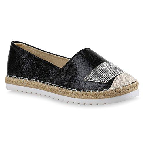 Damen Espadrilles | Bast Slipper | Glitzer Sommerschuhe | Metallic Flats Pailetten | Stoff Schuhe Plateau Schwarz Metallic