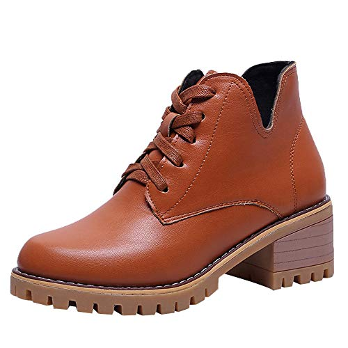 JURTEE Damen Platz Absatzschuhe Martain Boot Leather Keep Warm Round Toe Lace-Up Schuhe