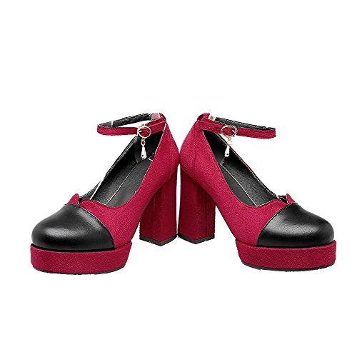 Rond Talon à Fibre Haut Chaussures Unie Couleur Super Rouge Femme Boucle Légeres VogueZone009 UxIOnO