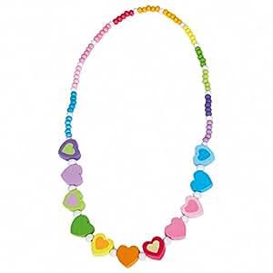 Bino Holzschmuck Mädchen Motiv Halskette Regenbogen Herz