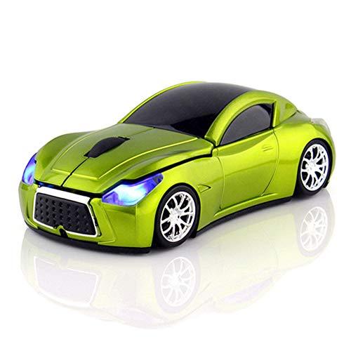 Kabellose Maus in Auto-Form, 2,4 GHz, 1200 DPI, USB-Empfänger, 3 Tasten, Ergonomische Maus für PC/Computer / Laptop grün -