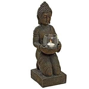 Buddha con portacandela statuetta raffigurante buddha da - Statue da giardino in resina ...