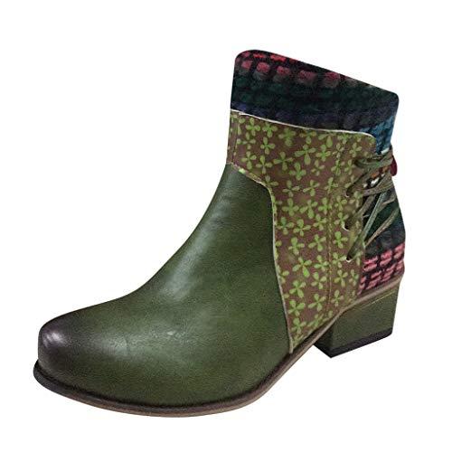 HOUMENGO Zapatos de Invierno Botas de Nieve Casual Calzado Boots Urbano Fiesta Oficina Caminando Zapatos De Punta Redonda Coincidencia De Colores Botas Cortas Side Zip Botas Casual