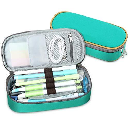 Schreibwaren Tasche Große Kapazität Tragbare Multifunktionale Langlebig mit Reißverschluss Leichte Leinwand Federmäppchen für Studenten Jungen - Grün -