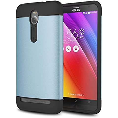 MoKo ASUS ZenFone 2 Funda - [Scratch Resistant] Hybrid Armor Series Dual Layer Protección - Scratch Technology Corners + Bumper Funda for ASUS ZenFone 2 5.5 Inch Android Phone 2015 release, AZUL