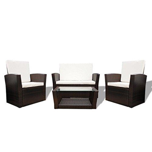 vidaXL Gartenmöbel Poly Rattan Lounge Sitzgruppe Sitzgarnitur Stühle Bank Tisch