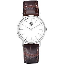 AIBI Waterproof Women Ladies Slim Analogue Quartz Watch with Brown Leather Strap