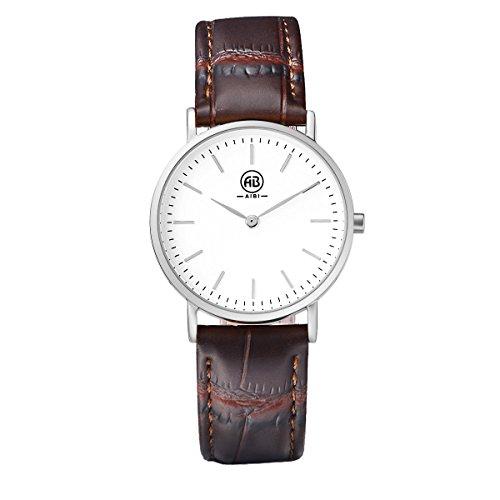 AIBI impermeabile da donna sottile orologio analogico al quarzo con cinturino in pelle marrone