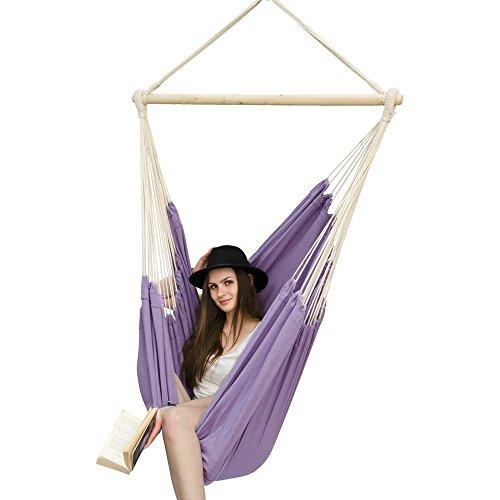 AMANKA Amaca per sedersi 2 persone 150kg sedile sospeso a 2 posti poltrona di cotone 185x130cm incl perno girevole 360° Viola Lavanda