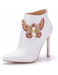 Moojm Moda Donna Stivaletti Scarpe Tacchi Alti Chiusura Lampo Scarpe Da  Sposa Partito Stivali 3a087032158