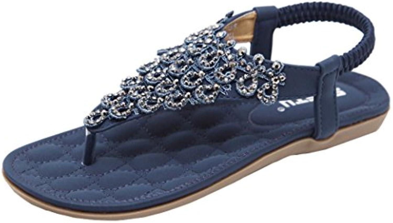 brezeh femmes des chaussures plates, les femmes mode femme perle bohème perle femme roman sandales round peep clip toe pantoufle sandales... d11a84