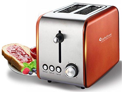 2 Scheiben Retro Toaster mit Brötchenaufsatz Vintage Design Edelstahl 850 Watt inklusive Krümelblech Kupfer