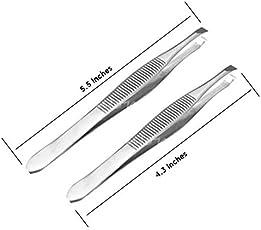 PagKis Flat Tip Tweezer Plucker Set for Eyebrows, Face