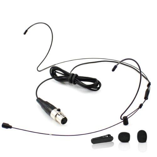 YPA MM1-C4S - Microfono wireless ad archetto per cuffie, adattatore TA4F per Shure, colore: nero - Headworn Microfono