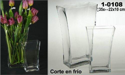DonRegaloWeb - Jarrón de cristal transparente alargado y ancho, realizado en corte...