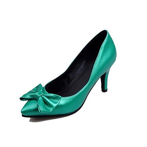 VogueZone009 Donna Tirare Luccichio Scarpe A Punta Punta Chiusa Tacco Alto Puro Ballerine Verde