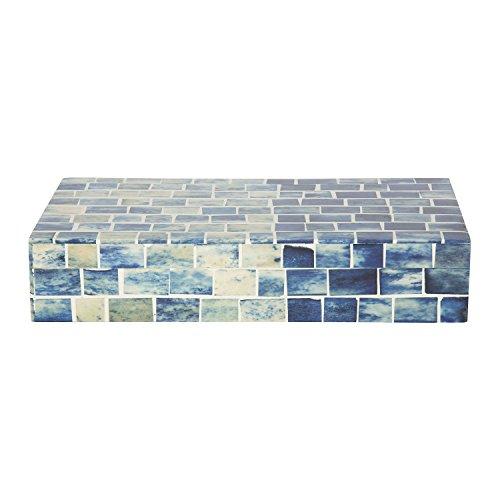 Kunsthandwerk Home Indigo Mosaik Andenken Dekorative Schmuck Lagerung Organizer Box, Indigo, M (Lagerung Trunk Box)