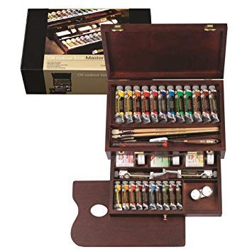 REMBRANDT ARTISTS WOODEN BOX MASTER FINE OIL PAINT SET