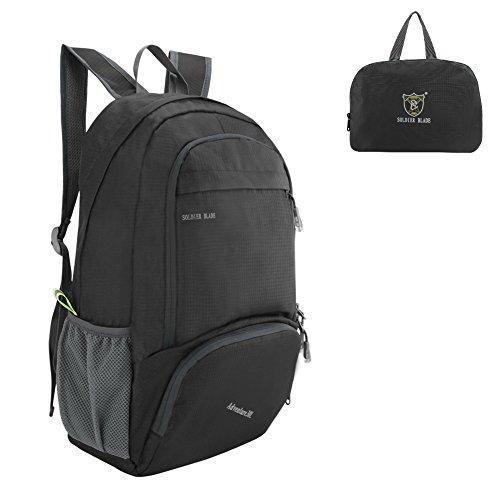 SueH Design 30L Wasserabweisender Daypack, Leichter Rucksack für Outdoor, Faltbar, Schwarz