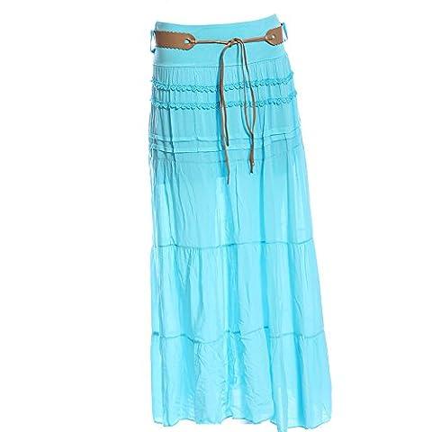 Ladies Hi Cotton Skirt Festival Belted Boho Gypsy Tiered Asymmetric Hitched Hem Long Maxi Skirt Festiva (14 16,