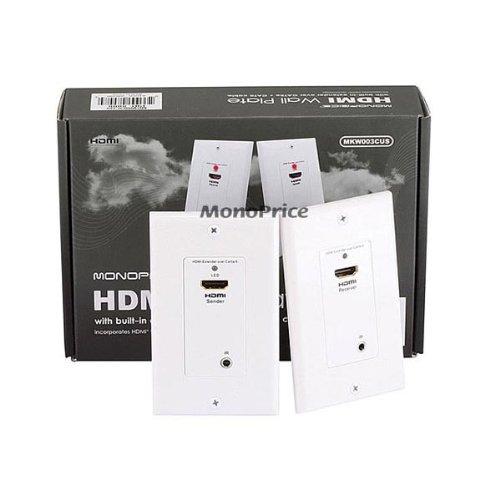 Extender HDMI CAT5E/6 Piastra da parete (paio) w/Built-In marcia indietro canali a infrarossi con porta singola (1P), colore: bianco