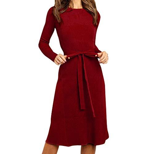 Floweworld Damen Pullover Kleider Fashion Solid O-Neck Slim Enge Kleider Winter Elegant Lace-up Bandage Vintage Langarm Kleider