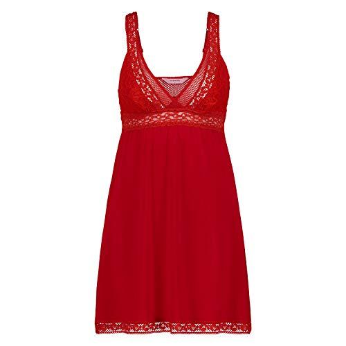 Hunkemöller Damen Graphic Lace Slipdress L, Tango Red